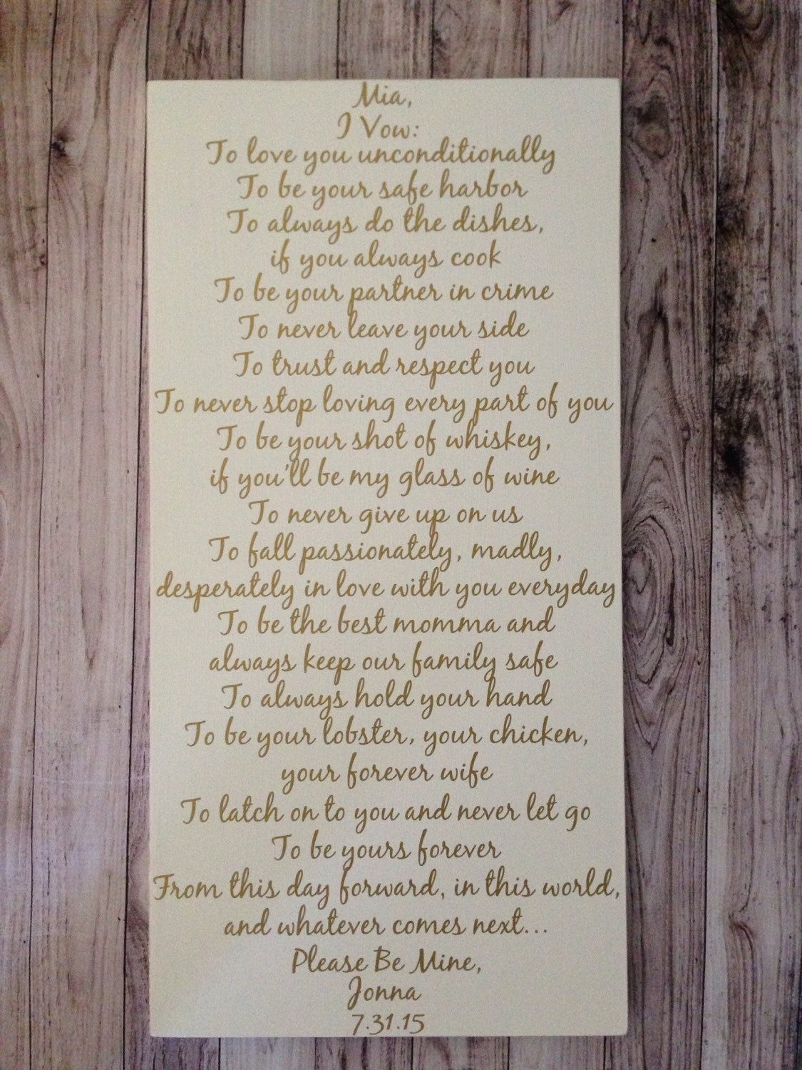 Fifth Anniversary Gift Personalized Wedding Vows Sign Custom