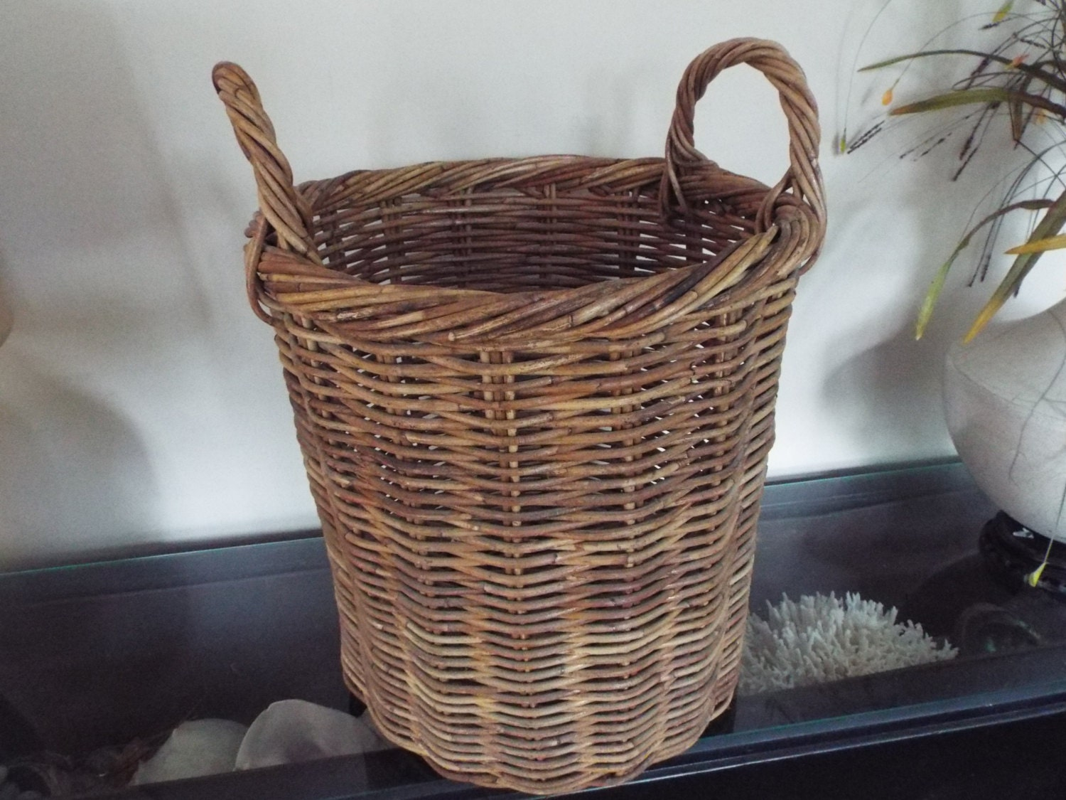 Round Wicker Baskets With Handles : Large tall round woven wicker baquette basket handles