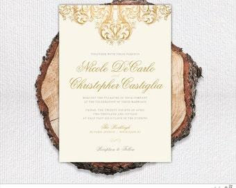 Vintage Gold Wedding Invitation