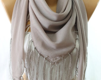 Beige Fringe Square Cotton Scarf Scarfs Scarves Shawl Pareo Beach Wrap Women's Fashion Accessories Gift Ideas For Her Bridesmaids Gifts