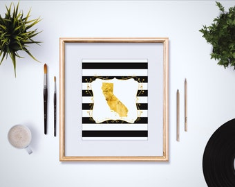Faux Gold Foil Custom State Print 4x6 - 5x7 - Modern Gold Decor - Black and White Stripes - Dorm Room Decor - Office Decor