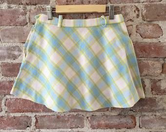 Vintage Girls Plaid 50s Wool Skirt - Plaid Flared Skirt - Vintage Plaid - School Girl Plaid
