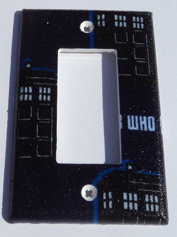 Dr who tardis print rocker light switch gfi outlet plate for Tardis light switch cover