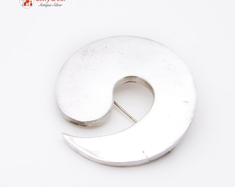 Hand Made Abstract Sprial Wave Brooch Sterling Silver