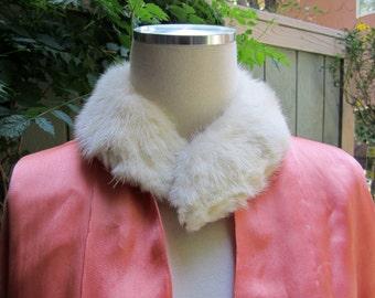Vintage White Mink Collar/ Mink Collar / Mink Necklace/ Repurpose Mink Collar