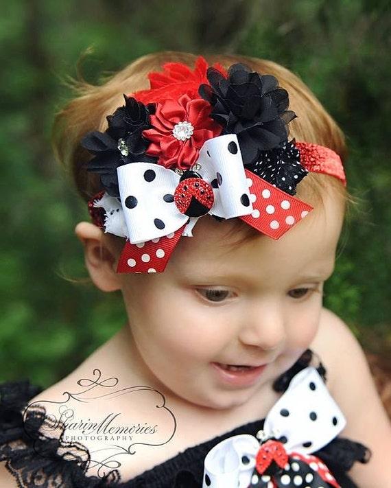 Knitting Ladybug Ladybird Headband : Lady bug headband infant baby toddler