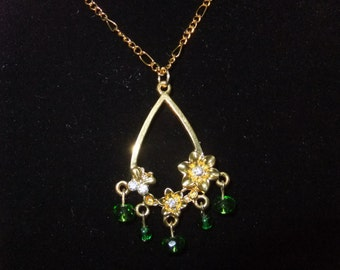 Green Flower Chandelier Necklace