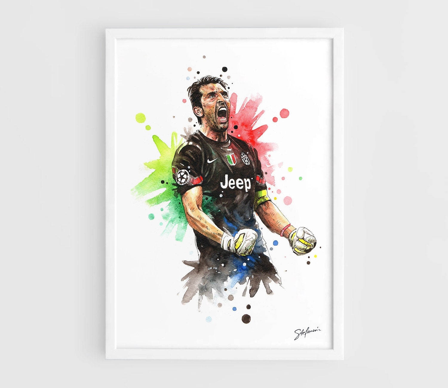 gianluigi buffon juventus fc football poster a3 wall art. Black Bedroom Furniture Sets. Home Design Ideas
