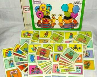 Vintage 1975 Sesame Street Muppets Fronts and Backs Lotto Bingo Game - Complete