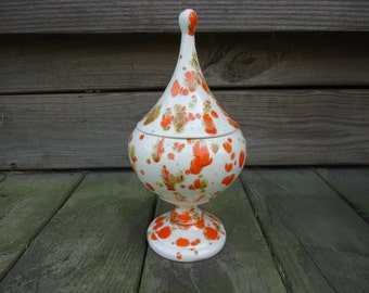 Mod/Retro Orange Splatterware Covered Candy Dish