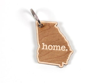 Georgia Key Charm by Home State Apparel: Laser Engraved Wood Keychain, GA