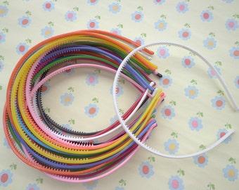 SALE--20 pcs Mixed color Plastic Headband 4mm Wide