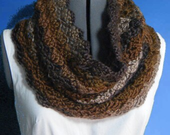 Women's Crochet Cowl, Crochet Scarf in warm shades of Tan and Brown, Neck Warmer #134