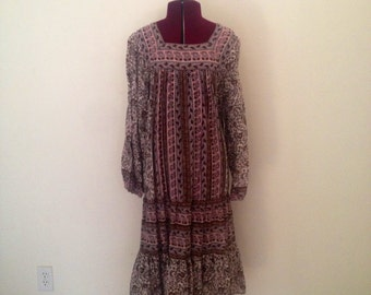 Vintage India Hippie Dress 1970s Block Print