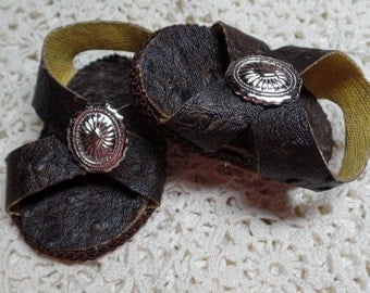 """18""""  Doll Sandals/ Dress up shoes In Dark Brown faux Leather Ostrich--shown on my american girl doll"""