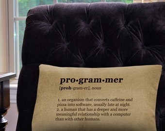 """Programmer  Definition Pillow Cover - 12"""" x 18"""" - Zipper Enclosure - Machine Washable- Geeky Pillow Cover"""