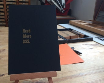 Letterpress typeset card - need more money