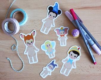 6 Stickers Set Sonny Angel x Disney : Mickey + Pinocchio + Bambi