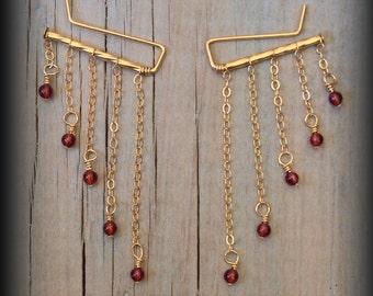 Garnet Earrings,Garnet Studs,Ear Climbers,Dangle Earring,Chandelier Earrings,Chain Earring,Delicate Earrings,Dainty Earrings,Minimal Earring