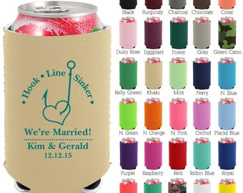 Custom Neoprene Can Coolers (1431) We're Married - Beer Can Coolers - Personalized Can Cooler - Wedding Favors