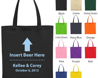 Welcome Wedding Bags (C1616) Insert Beer Here - Wedding Favors - Personalized Tote Bags - Custom Bags - Wedding Tote Bags