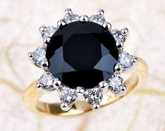 onyx engagement ring two tone engagement ring 100 ctw g si2 round diamonds - Onyx Wedding Ring