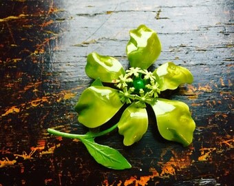 Lime Green Sixties Flower Pin