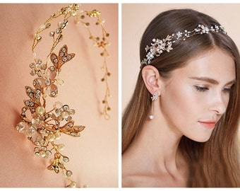 Nature inspired hair vine, Gold or silver floral bridal headband,  Art deco rhinestone crystal pearl tiara, Wedding flower headband