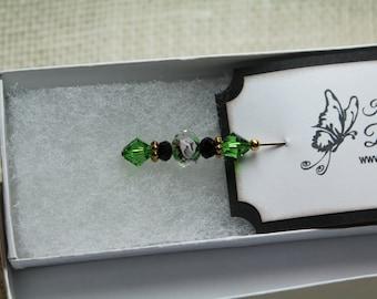 Emerald colored Stick Pin, Scarf pin, Hat Pin, Shawl Pin, Lapel Pin, Coat Pin, Brooch Pin