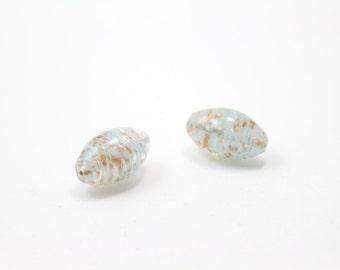 Vintage Barrel Shaped Venetian Glass Aqua and Rose Gold Beads 19x30 2pcs