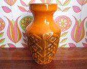 Vintage West German Pottery Vase Orange Brown Diamond Lozenge Raised Pattern WGP Keramik Mid Century Modern Germany 60's 70's Mod Apartment