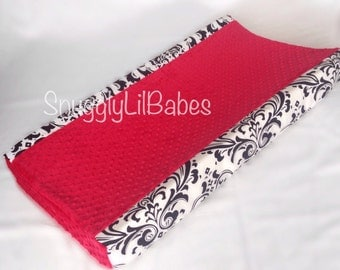 White black damask, red minky dot changing pad cover
