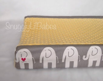 Grey elephant, yellow minky dot changing pad cover