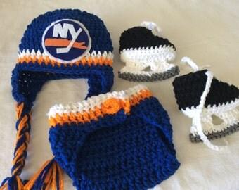 New York Islanders Baby Crochet Hockey Earflap Hat, Diaper Cover, and Skate Booties.