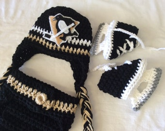 Pittsburgh Penguins Baby Crochet Hockey Earflap Hat, Diaper Cover, and Skate Booties .