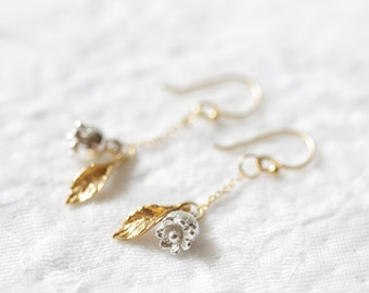 Sterling silver and gold lily of the valley earrings, earrings, flower earrings, dangle earrings, hook earrings, summer jewelry, gift, lucky