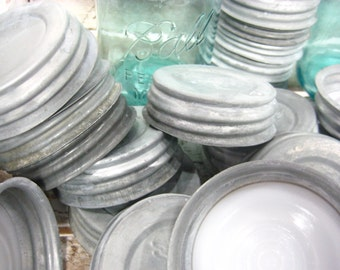 Vintage Zinc Canning Jar Lids with Milk Glass Inserts, Caning Jars, Blue Ball Mason Jars, Atlas Jars, Antique Lids