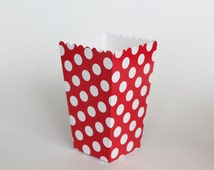 Red Polka Dot Popcorn Box-Pop Corn Scoop-Red Favor Box-Party Favor Boxes-Polka Dot Party Supplies-Red Birthday Party-Wedding Favor Box