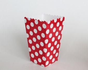 Red Polka Dot Popcorn Box-Pop Corn Scoop-Red Favor Box-Party Favor Boxes-Polka Dot Party Supplies-Red Birthday Party-Wedding Favor Box