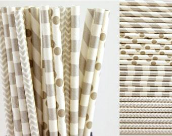 Silver Paper Straw Mix-Silver Straws-Striped Straws-Chevron Straws-Polka Dot Straws-Mason Jar Straw-Party Straws-Wedding Straws-Paper Straws