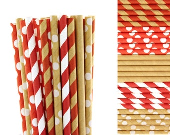 Christmas Straws- Red and Kraft Paper Straw Mix-Red Straws-Kraft Straws-Polka Dot Straws-Striped Straws-Retro Straws-Gnome Party Straws