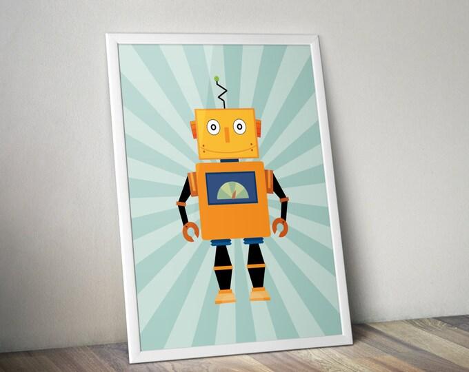 Nursery robot print, retro poster, kids room art, vintage toy decor, robot art