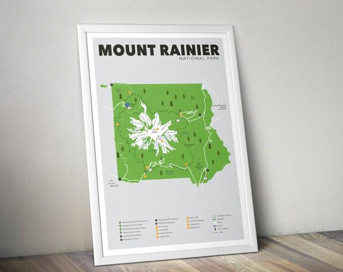 Mount Rainier National Park Map, Mount Rainier, Outdoors print, Explorer Wall Print