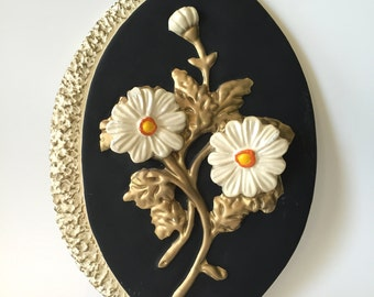 Mid-century Funky Flowered Chalkware Plaque