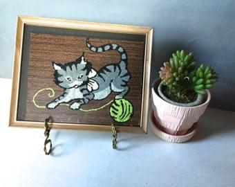 Mid Century, Framed Sand Art Kitten