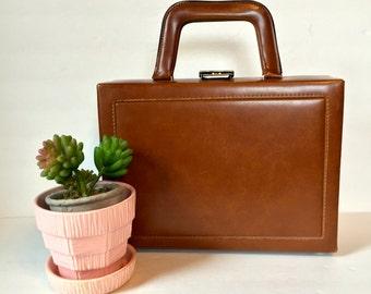 Vintage Brown Leather, Hard Shell, Box-Style Handbag