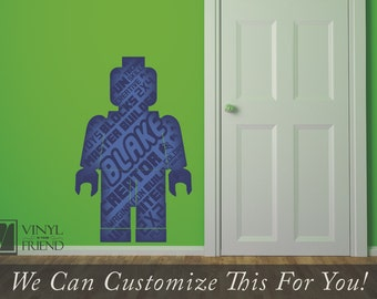 minifig brick man decal custom name mini fig figure word collage with - a wall decor vinyl decal digital print graphic 2468