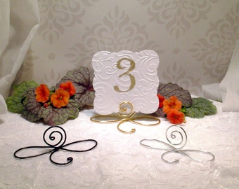6 large wire infinity bow table number holders black gold and silver table number