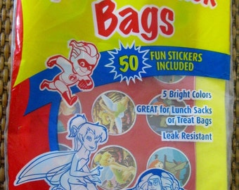 On Sale Vintage Disney Magic Selections25 Plastic Lunch Party Bags Sacks, Bright Colors with 50 Disney Stickers, Party Favor Bags