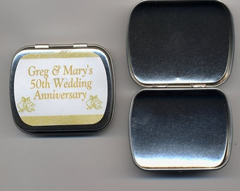 6 50th Anniversary party favor mint tins unfilled with personalized stickers